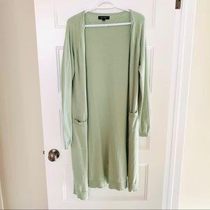 Long sage green cardigan